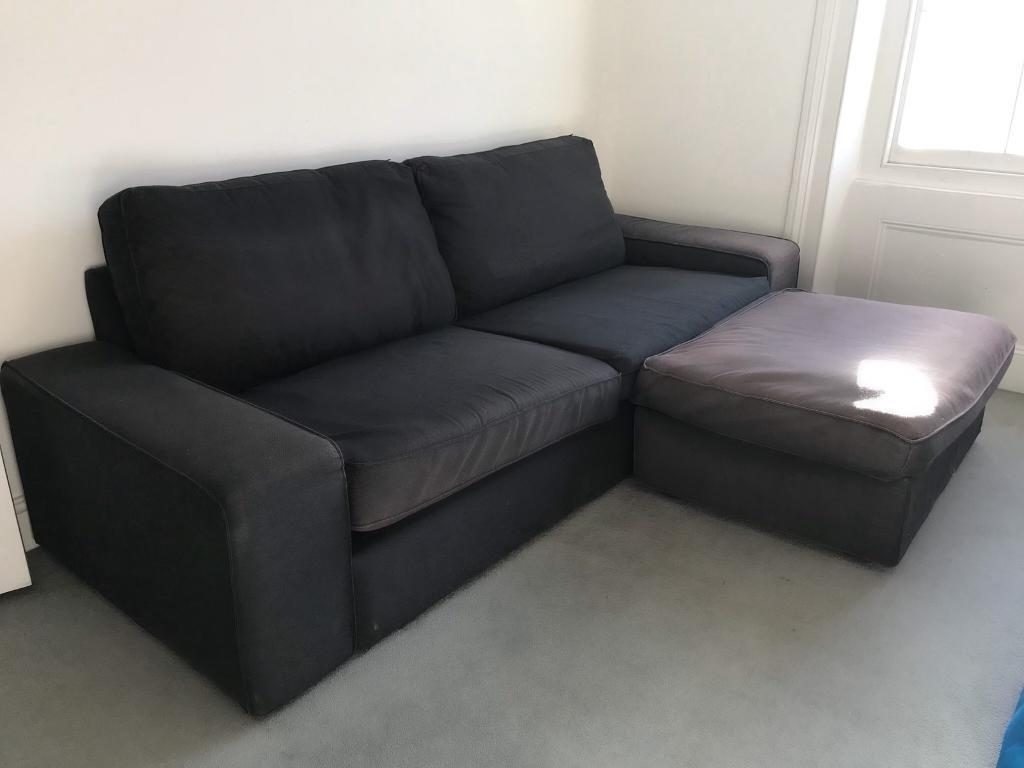 Ikea KIVIK 3 Seater Sofa And Storage Footstool   Dansbo Grey