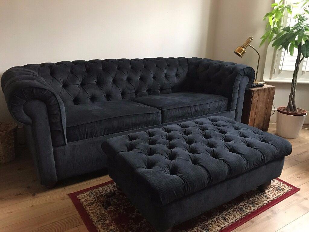 Debenhams Large Velour Chesterfield Sofa Bed In Leytonstone