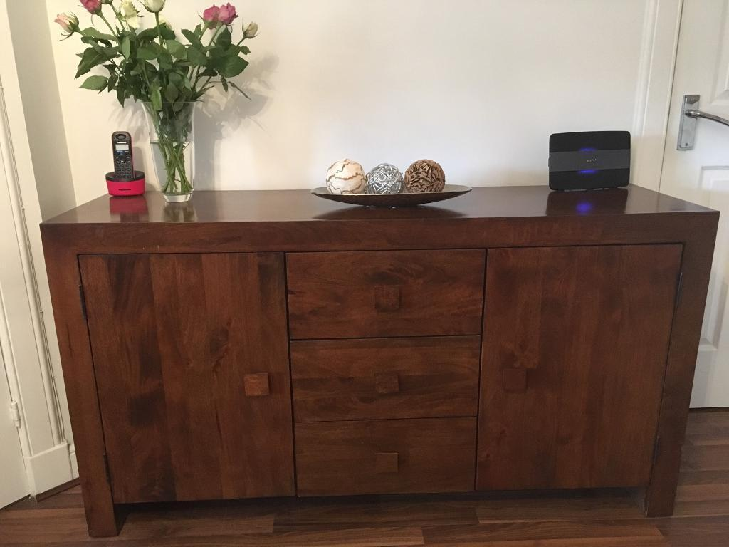 Sideboard, TV Unit And Coffee Table With Side Tables Dark Mango Wood  Furniture From Next