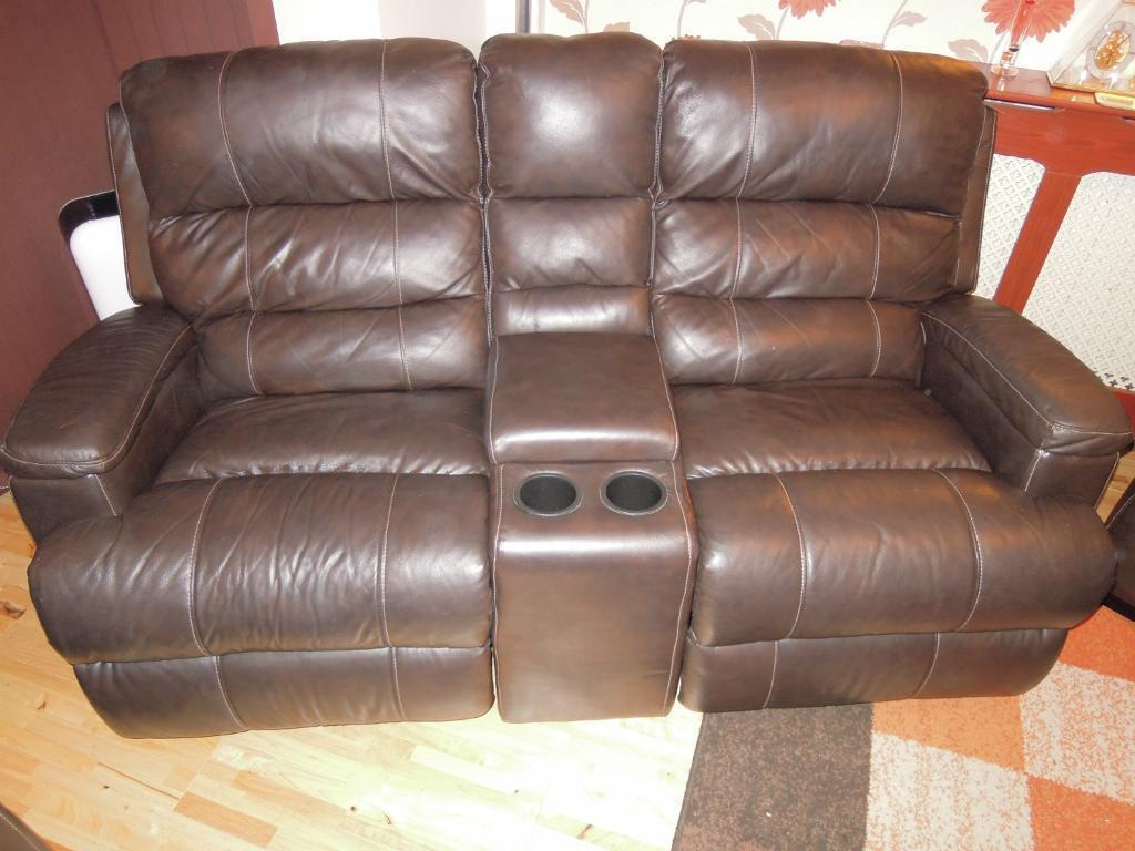 Beau CSL Brera Brown Leather 2 Seater Double Reclining Rocking Sofa With Centre  Storage And Cup Holders