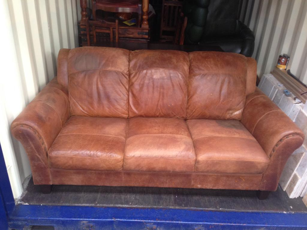 art deco vintage tan brown distressed leather sofa 3 seater studded arms