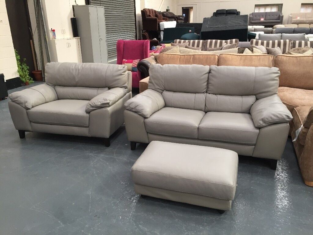 Ex Display DFS Fiji Grey Leather 2 Seater Sofa, Cuddler Chair And Footstool Part 80