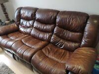 Brown Leather Sofa (3 Seater U0026 2 Seater) Used.
