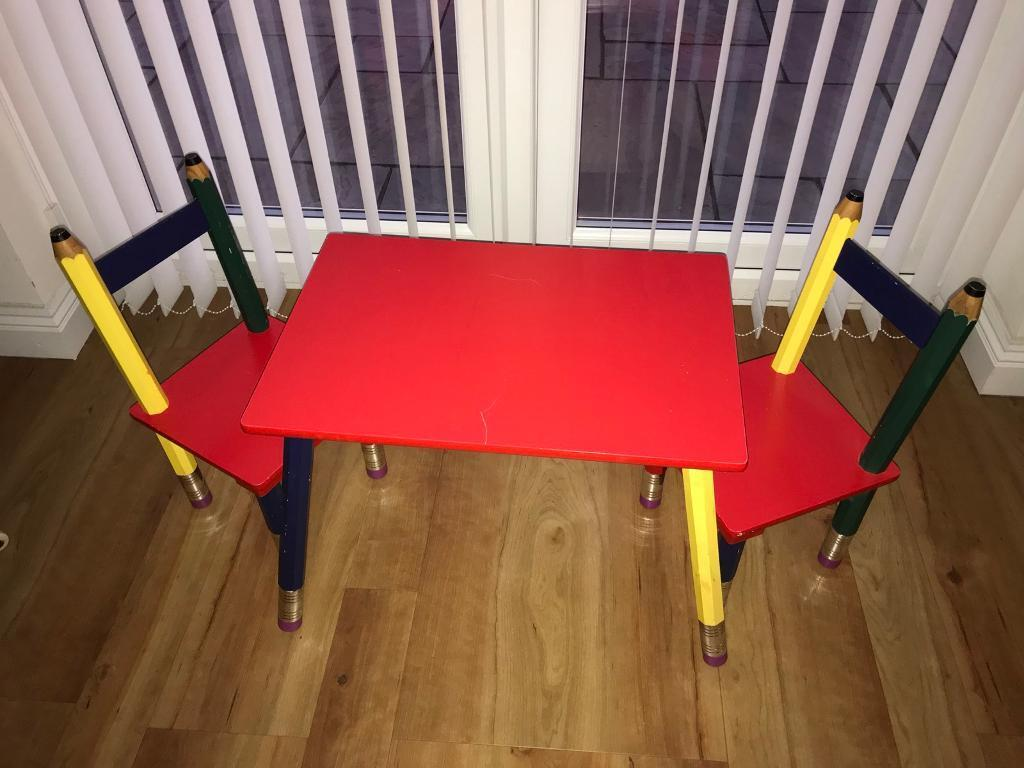 Kids Table Chairs Pencil Crayons
