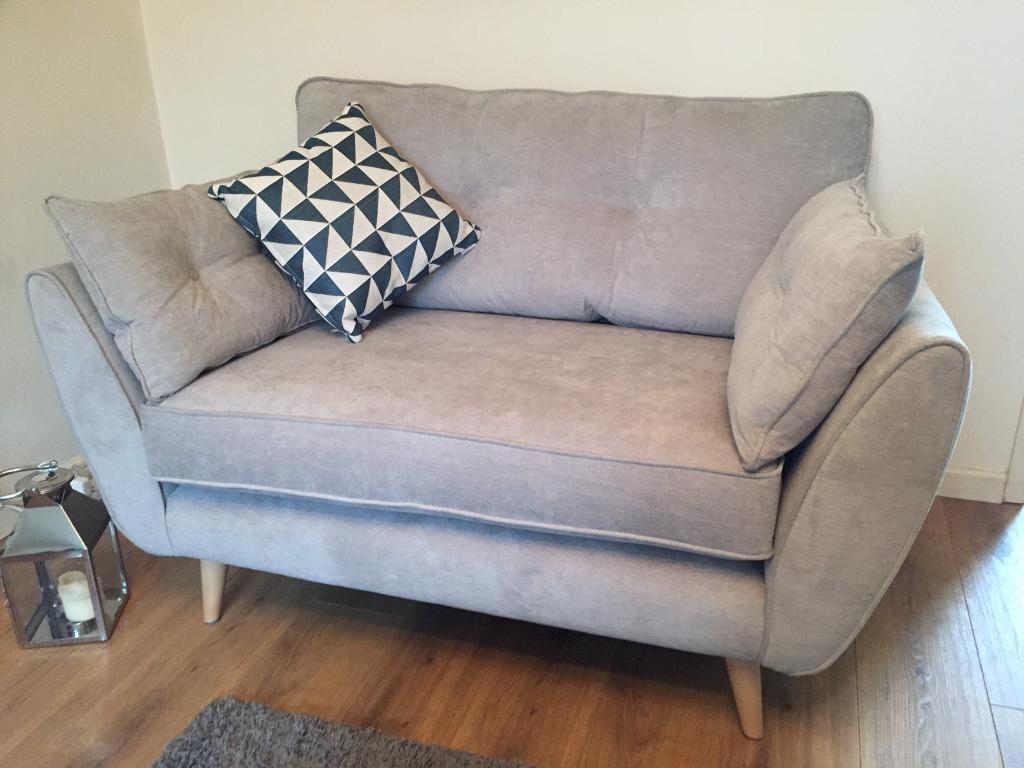 Brand New French Connection 2 Seater Cuddler Sofa Silver/Grey With  Footstool + 3 Cushions