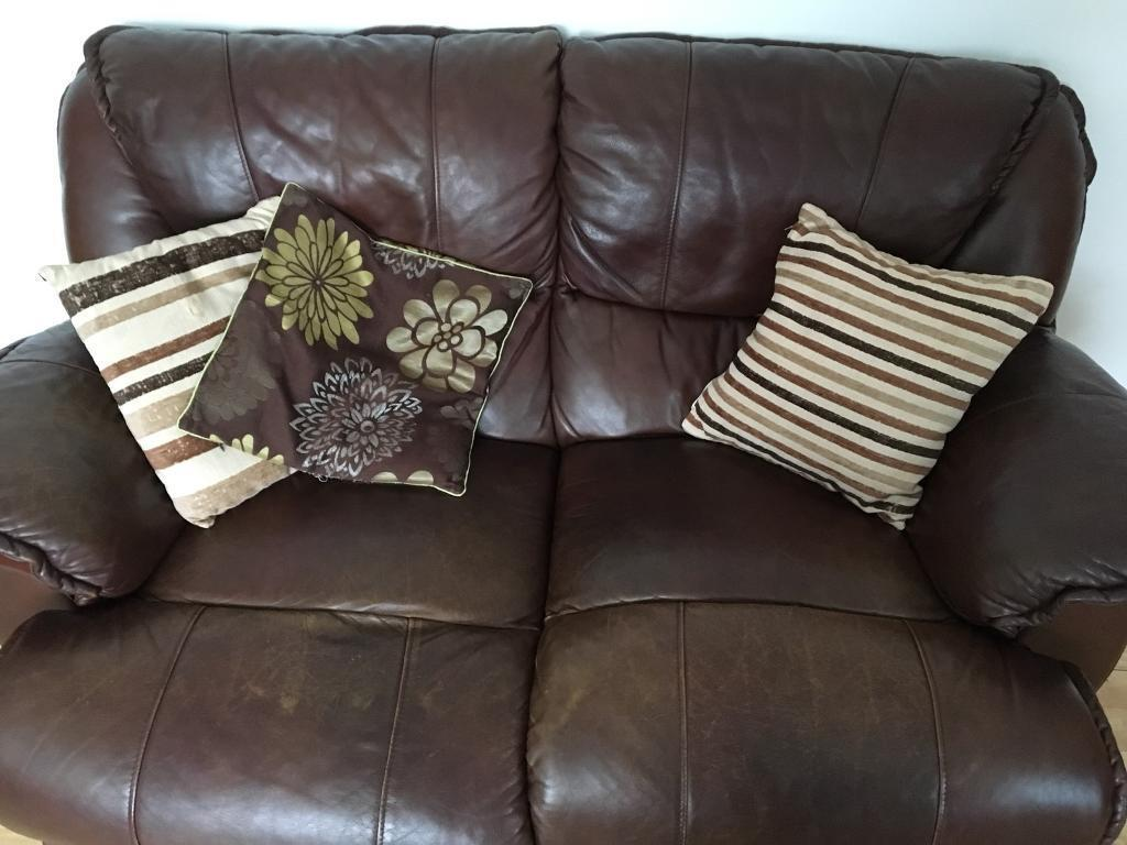 Brown Real Leather Sofa Set With Pillows Included