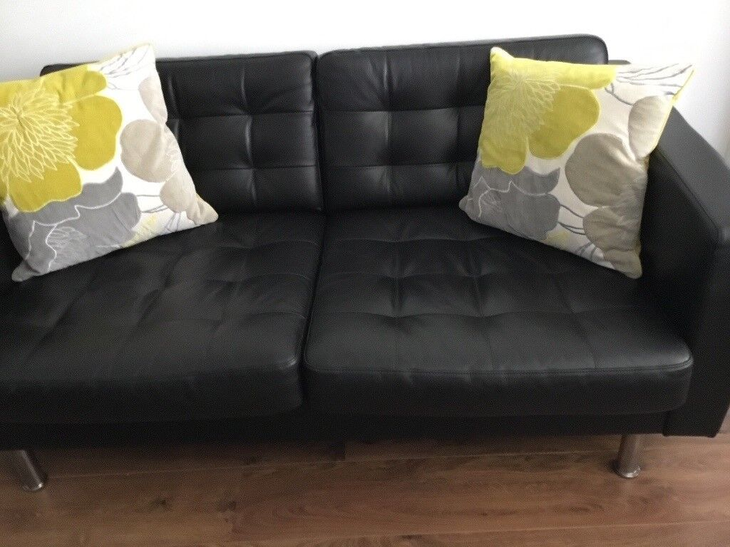 **REDUCED SOFA   2 Seater Ikea LANDSKRONA Black Leather Sofa In Great  Condition