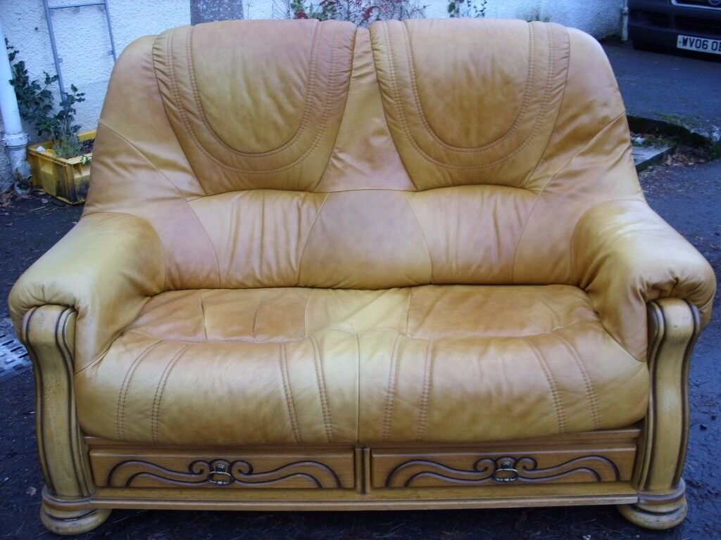 Etonnant 2 Seater Tan Leather Sofa Made By HIMA Belgium, Leather Suite, 2 Seater