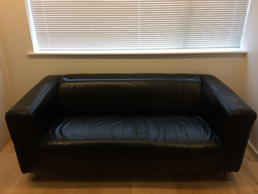 Ikea Klippan Black Leather Sofa In Trumpington Cambridgeshire