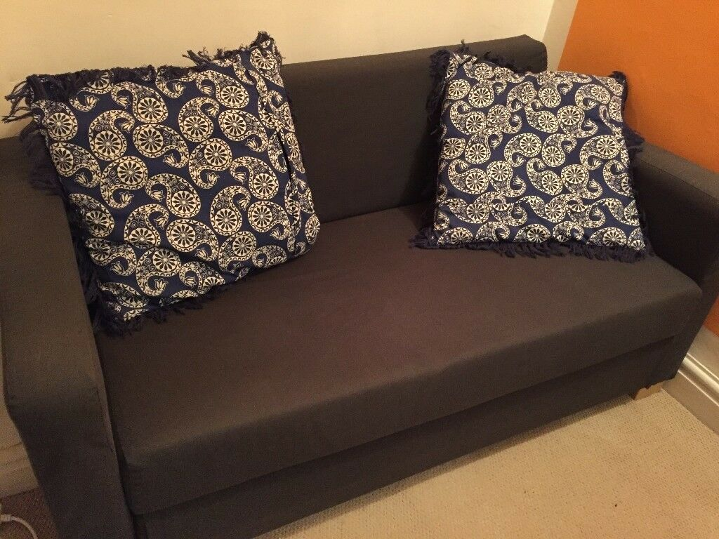 Blue Sofa Bed With 2 Cushions