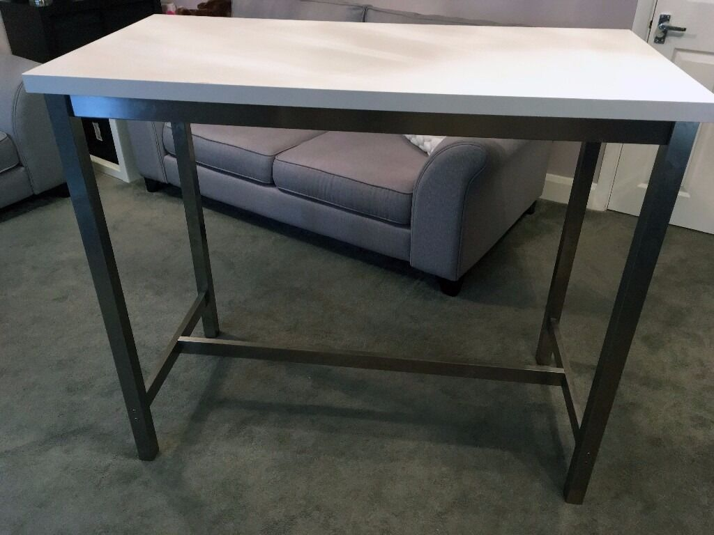 IKEA Utby Stainless Steel Breakfast Bar Table (white Top) 4 White Stools VGC