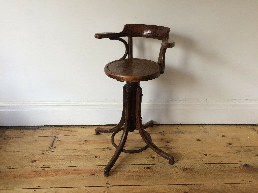 Antique Vintage Fischel Office Revolving Swivel Bentwood Chair Thonet