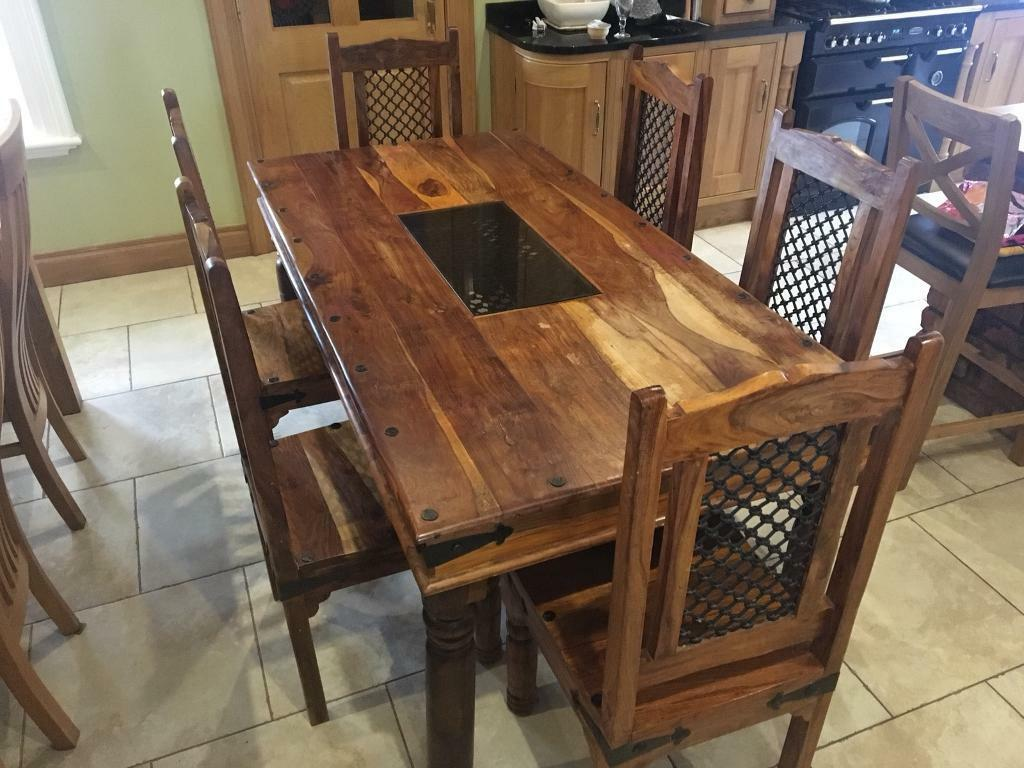 Solid Sheesham Wood Dining Table And 6 Chairs
