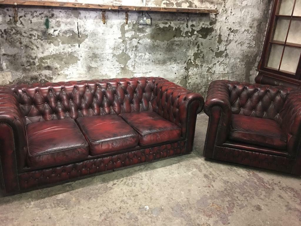 Great Chesterfield Oxblood Sofa #11 - Vintage Oxblood Chesterfield Sofa Set