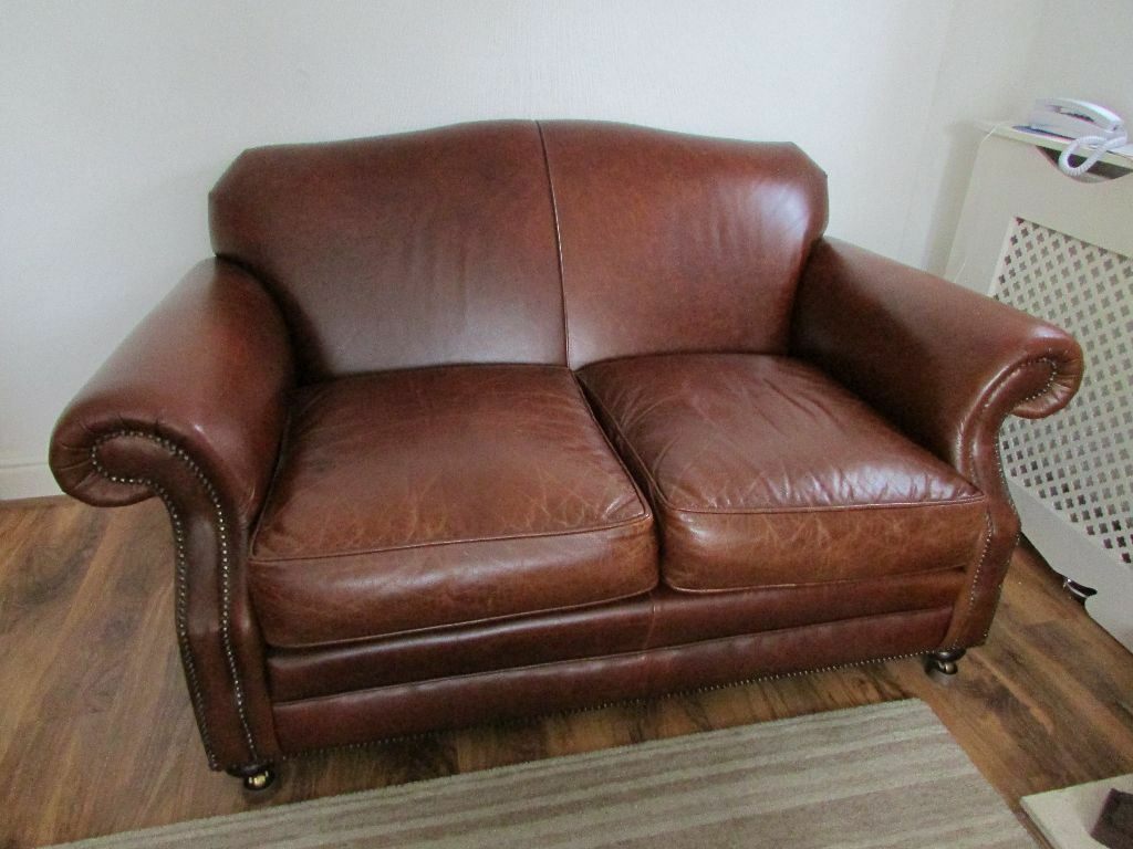 RARE RETIRED LAURA ASHLEY 2 Seater Antique Brown Leather Cigar Sofa