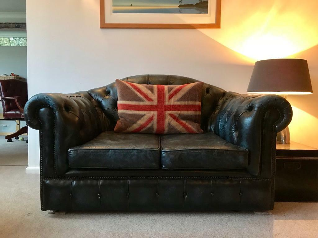 Petite Camel Back Blue Chesterfield Sofa. Can Deliver