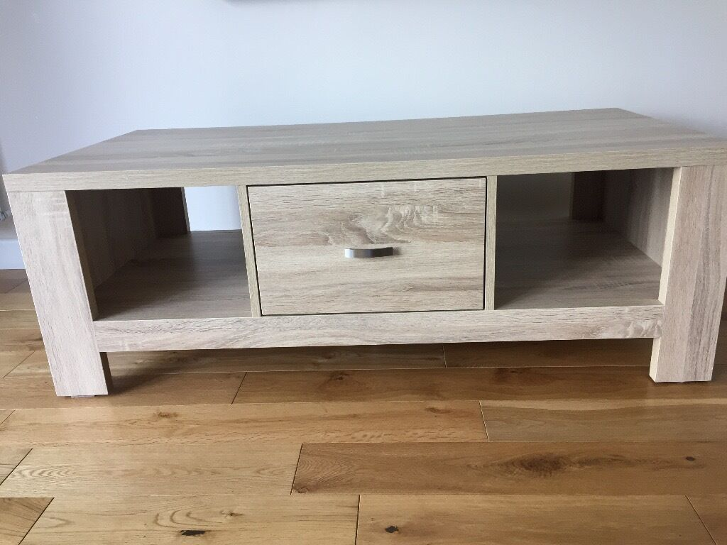 Captivating Washed White Oak Effect TV Unit