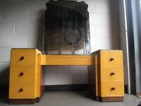 vintage maple veneer seven drawer kneehole dressing table with mirror free delivery