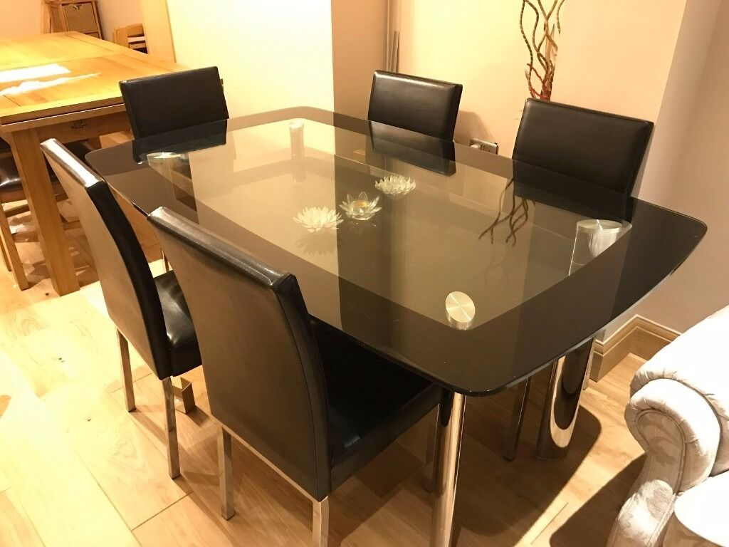 Glass Dining Table Set With 6 Chairs   Black And Chrome Finish   Near  Sutton,