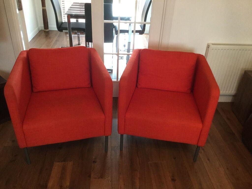 Ikea Ekero Pair Of Armchairs 2 Skiftebo Orange Ikea