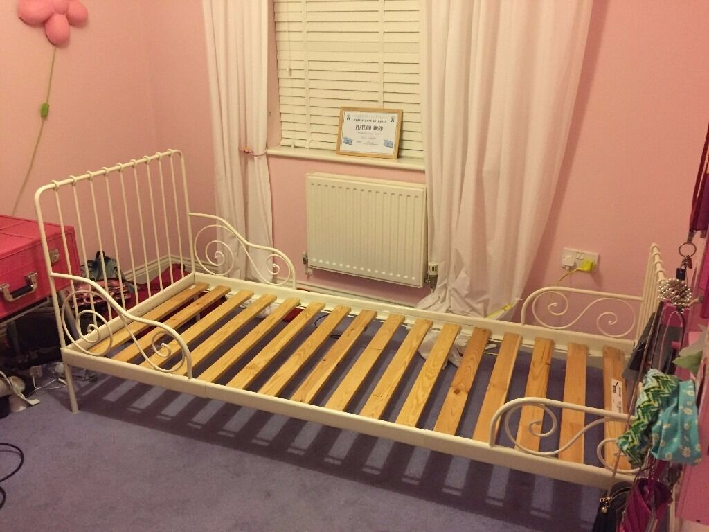 ext bed frame with slatted bed base ikea minnen white frame