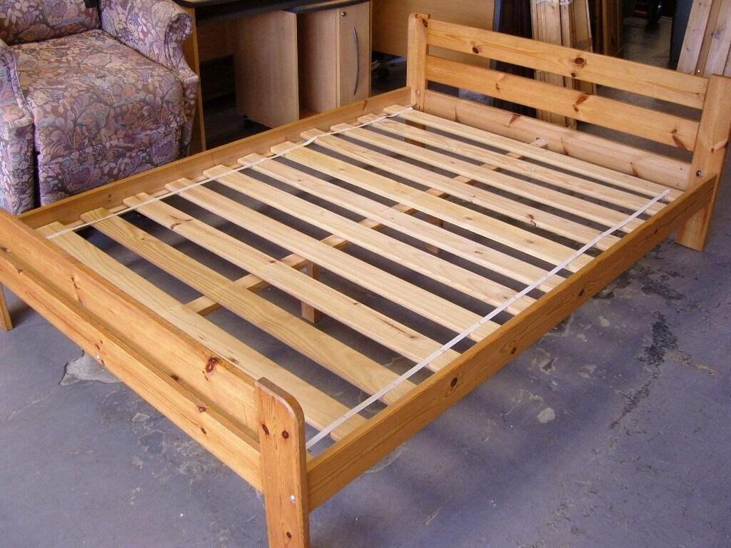 Ikea Solid Pine Wooden Double Bed Frames Good Condition In