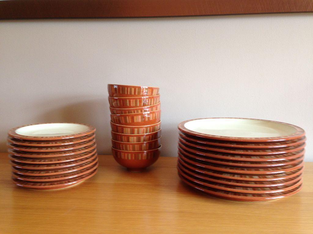 Denby Fire Chilli terracotta dinnerware (dinner plates side plates bowls) & Denby Fire Chilli terracotta dinnerware (dinner plates side plates ...