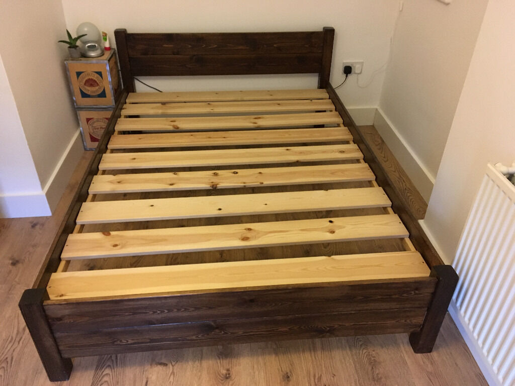 Space Saving Double Bed Frame Dark Brown Pinewood Uk Size X Cm