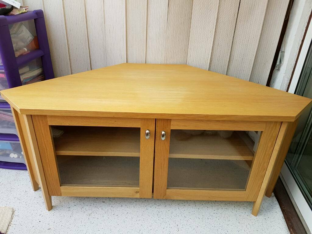 IKEA Skoghall Corner TV Unit In Oak