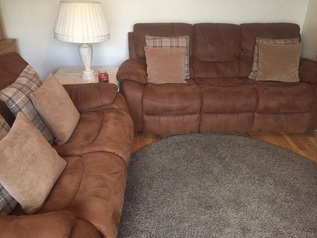 Sofa Suite FOR SALE*** Harvey Furniture Bel Air Brown Faux Suede Couch Set