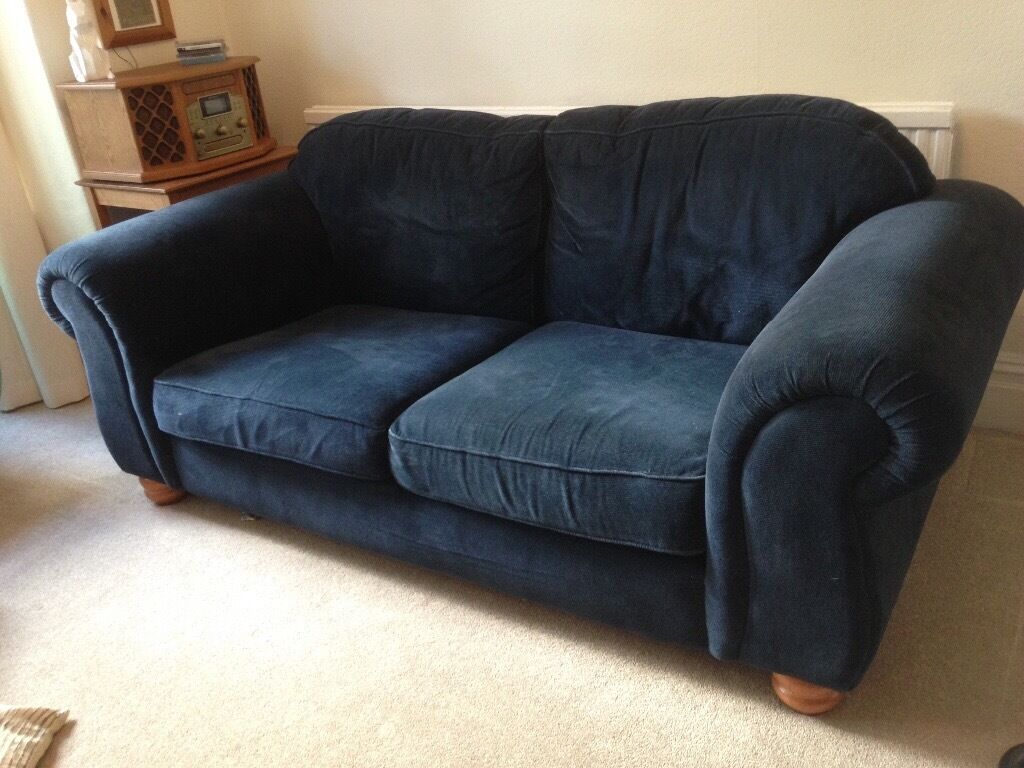 Merveilleux Navy Blue, Corduroy Sofa. Used But Still Comfy!