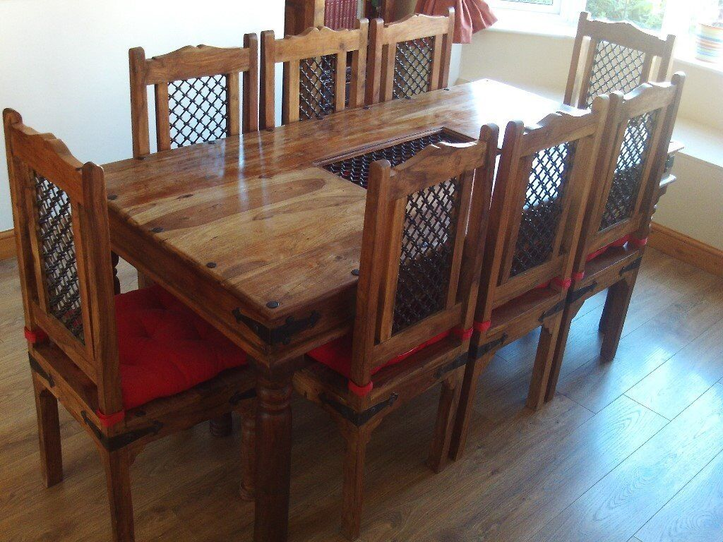 INDIAN SHEESHAM JALI ROSEWOOD DINING TABLE AND 8 CHAIRS