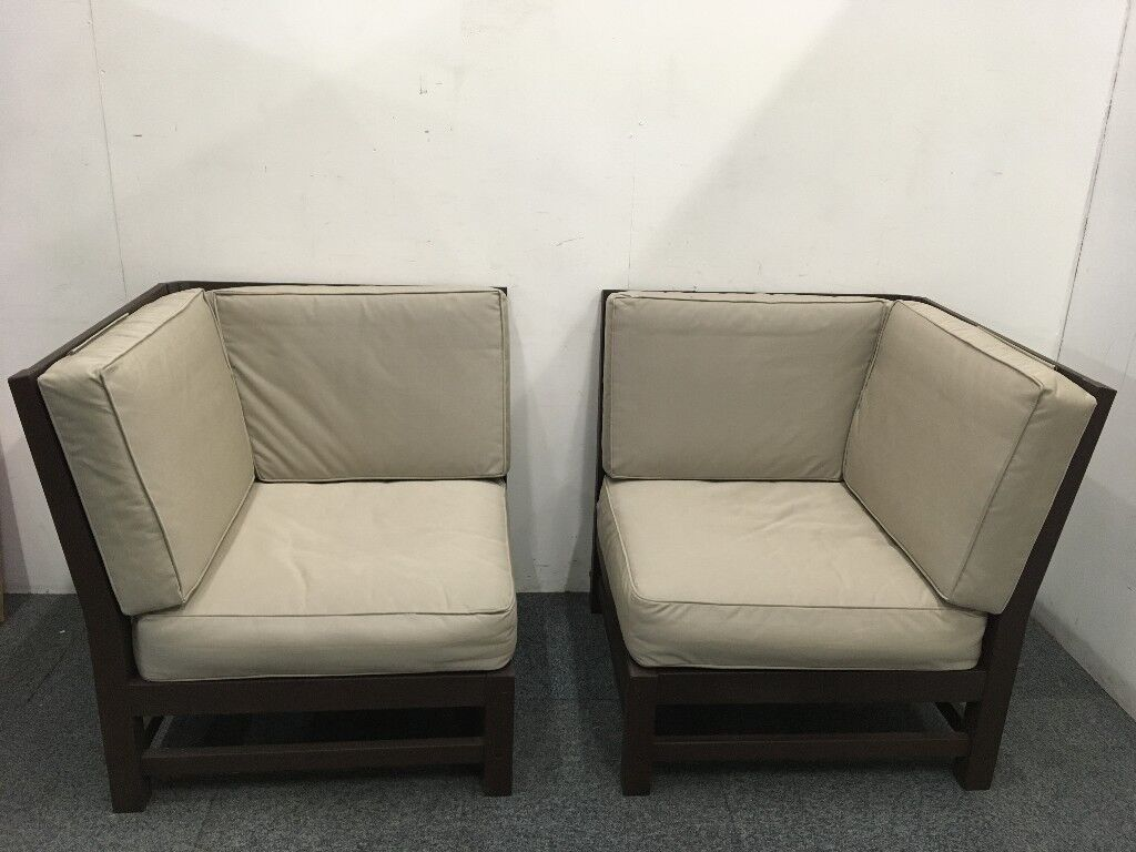 Strathwood Garden Furniture   Two Anderson Sectional Hardwood Corner Chairs