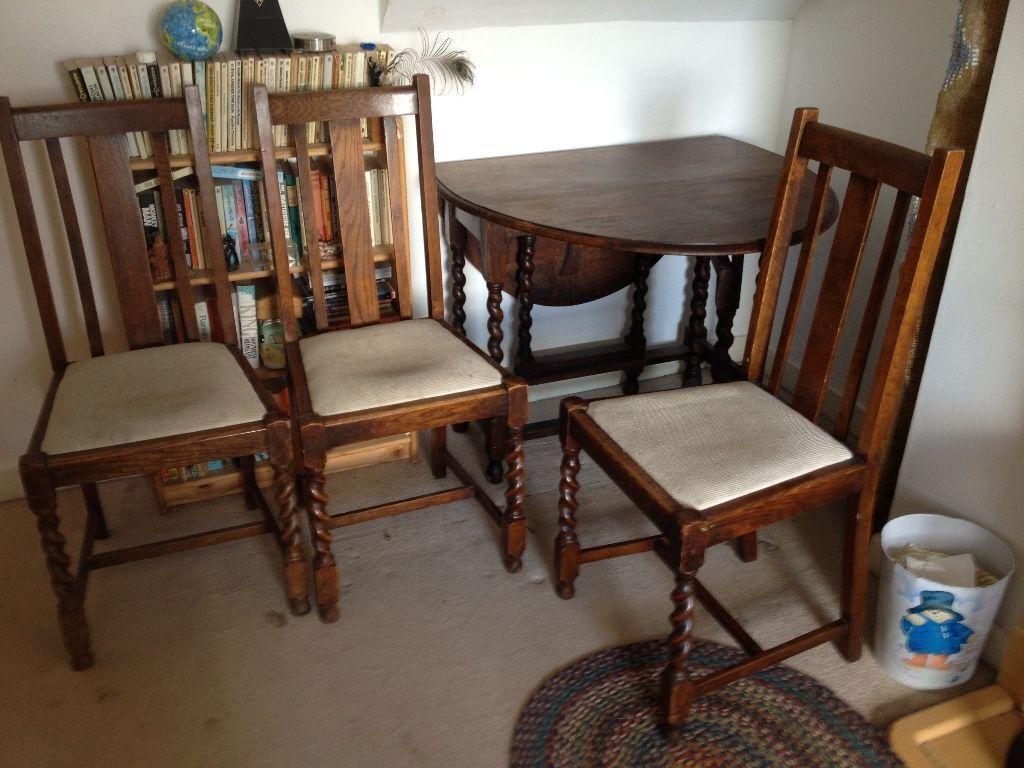 Vintage Dark Oak Barley Twist Drop Leaf Table U0026 3 Chairs (Upcycle Project?)