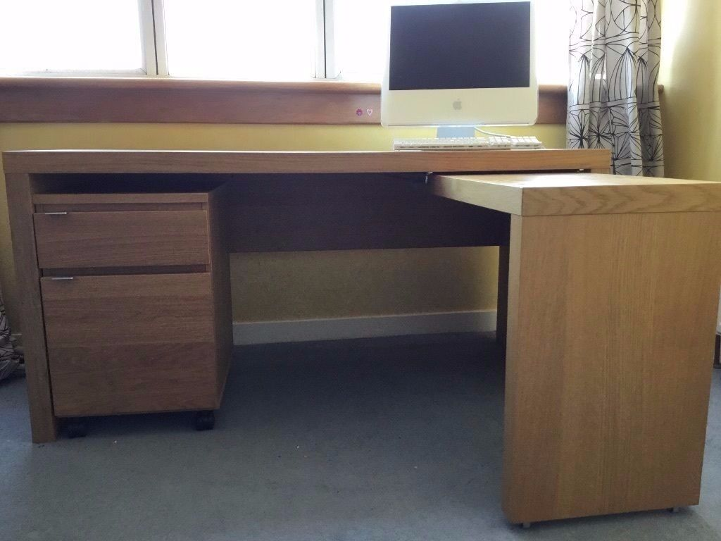 Beau Ikea Malm Desk With Pull Out Panel Computer Desk (Oak Veneer)