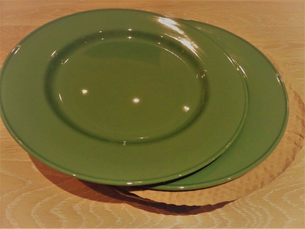 6 Steelite Forest Green Festive Dining Plates Large Charger Service Plate  30cm , (almost New