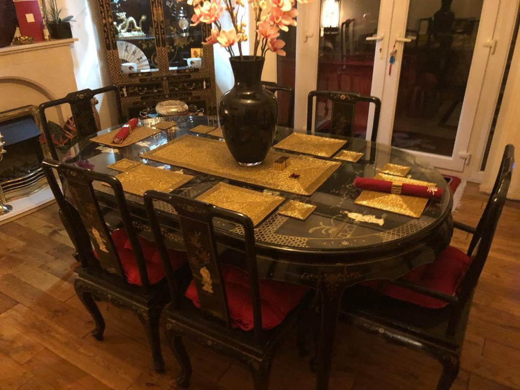 Mother Of Pearl Chinese/oriental Dining Set