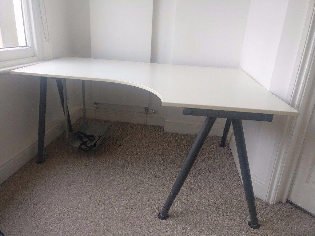 Ikea Galant White Corner Desk 160 X 110cm U0026 Optional Computer Holder  (Summera) Images