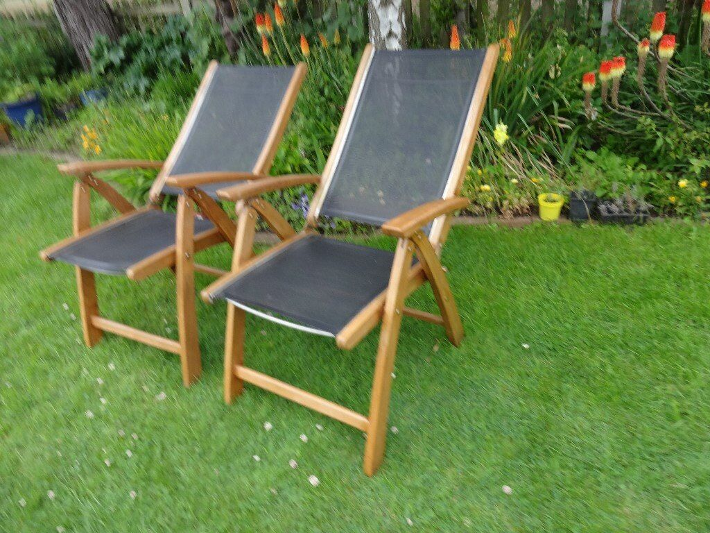 SOLID TEAK --2 LARGE RECLINING GARDEN CHAIRS BY  HARTMAN --- & SOLID TEAK --2 LARGE RECLINING GARDEN CHAIRS BY