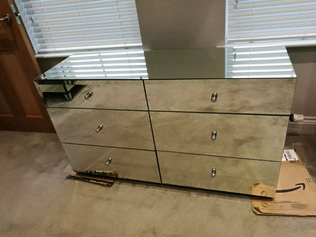 Exceptionnel NEXT DECO WIDE MIRRORED CHEST 6 DRAWERS BEDROOM FURNITURE RRP £550 DAMAGED  GLASS !