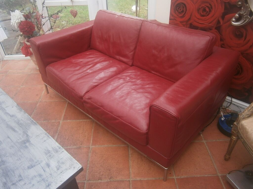 IKEA ARILD Red Leather Sofa 2 Seater X2 Kent PAIR In Minster On