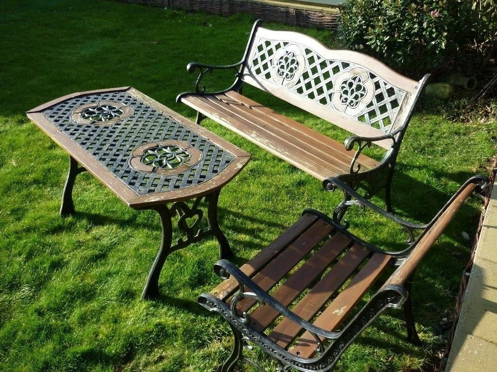 Cast Iron Garden Bench Table and Chair Set (Restoration Project) & Cast Iron Garden Bench Table and Chair Set (Restoration Project ...