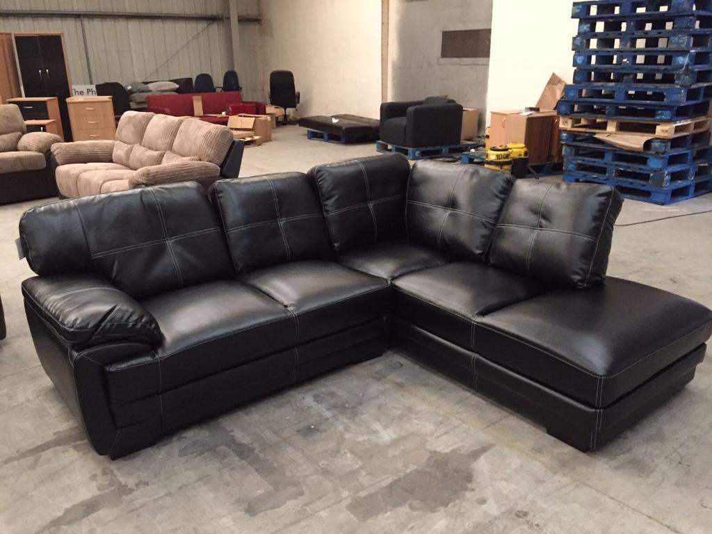 Brand New Black Leather Corner Sofa In Bury Manchester Gumtree : leather corner chaise - Sectionals, Sofas & Couches