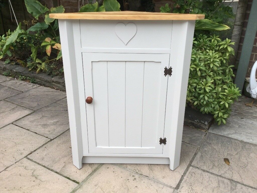 Country Pine Painted Corner Cabinet / Cupboard