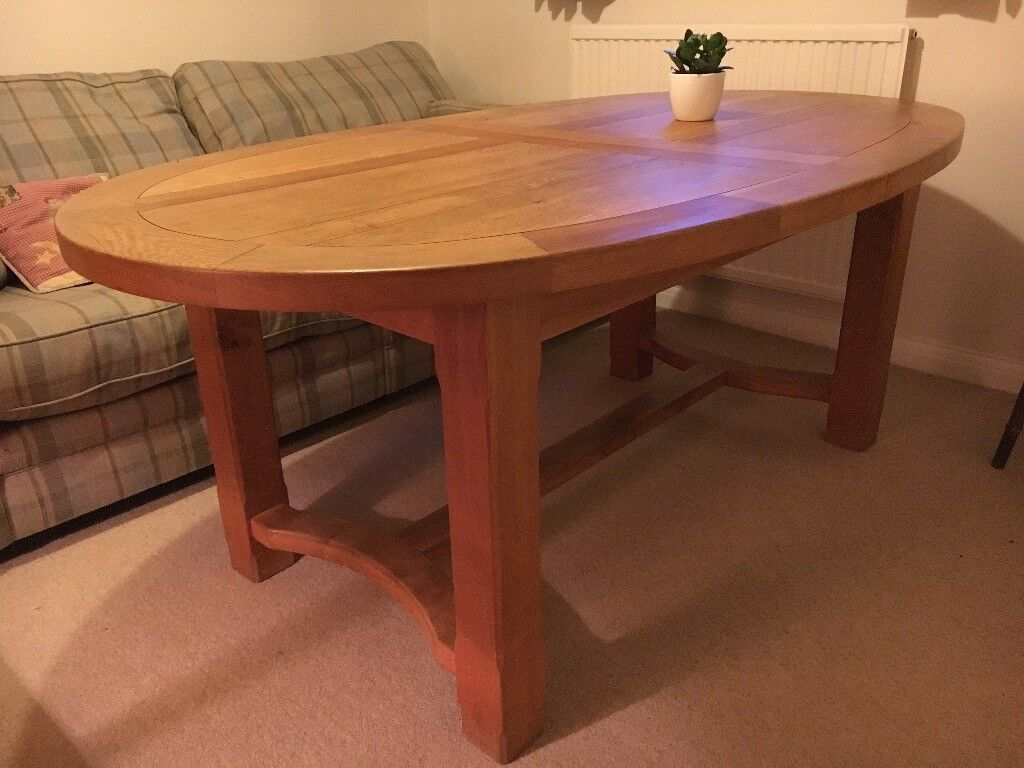 Solid Oak Oval Extendable Dining Table. Seats 10 Extended And A Comfortable  6 When Not