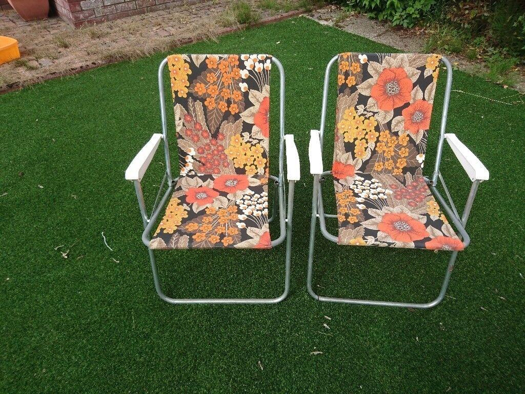 Pair Of Vintage Retro Floral 1960u0027s Deck Chairs, Camping, Folding Chair, VW  Campervan
