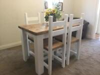 Farmhouse, SHabby Chic, Rustic Dining Table And Four Chairs