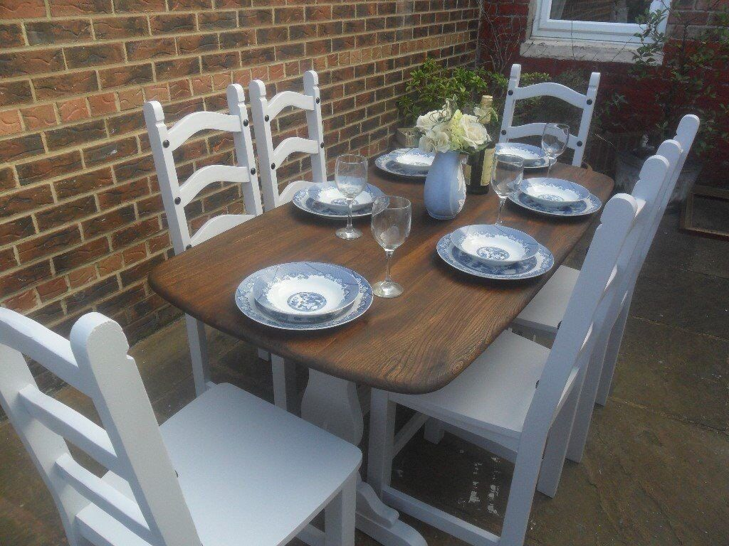 Shabby Chic Grey Painted Ercol Dining Table And 6 Chairs