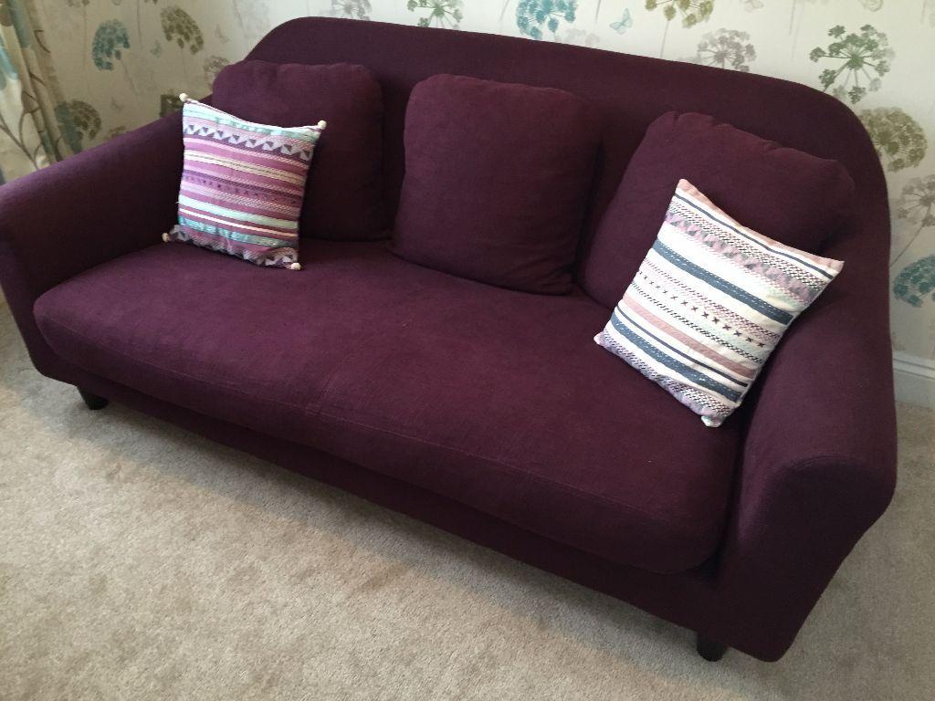 Habitat Emlyn 3 Seater Sofa   Beetroot Amazing Design