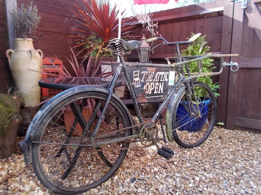 ORIGINAL BUTCHERS BIKE .. DELIVERY BIKE .. GARDEN ORNAMENT ... SHOP DISPLAY
